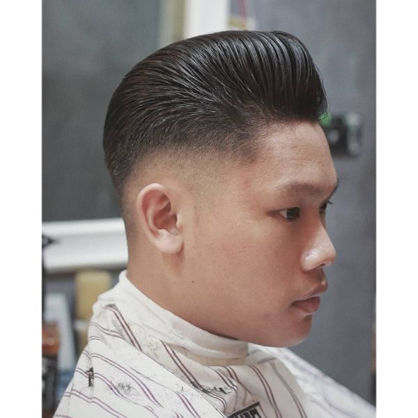 Skin Fade with Pompadour Top