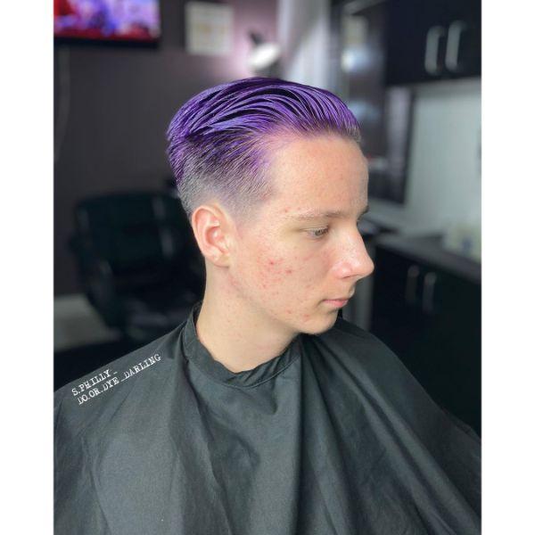 Slicked Back Purple Fade Boys Haircut