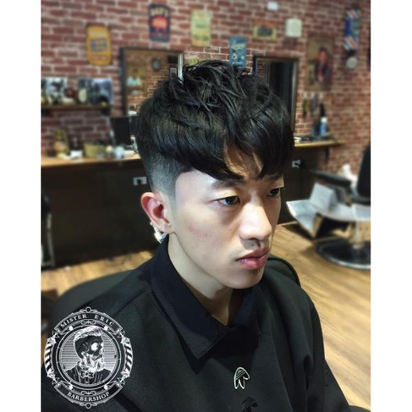 Sloppy Mop Top Haircut with Pointy Fringe Hairstyle