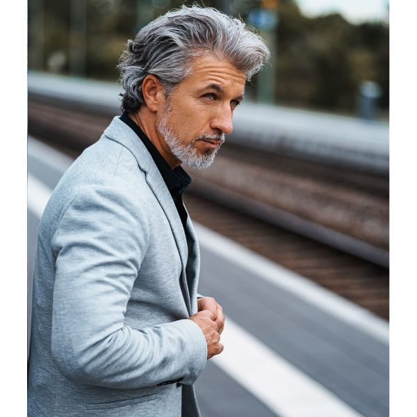 Swept Back Natural Taper Haircut for Grey Hair
