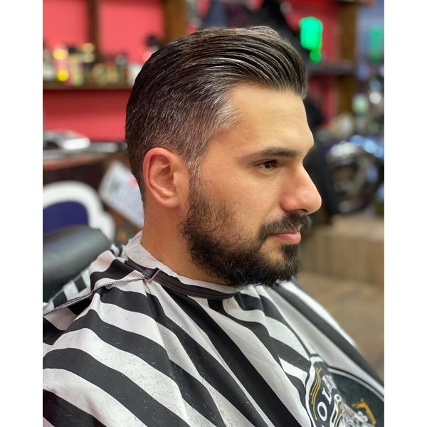 Swept-Back Taper Hairstyle for Older Men