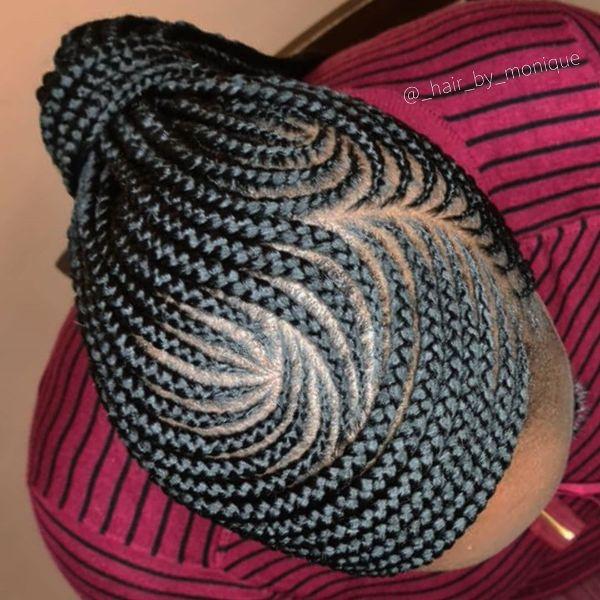 Swirling Cornrows For Long Hair