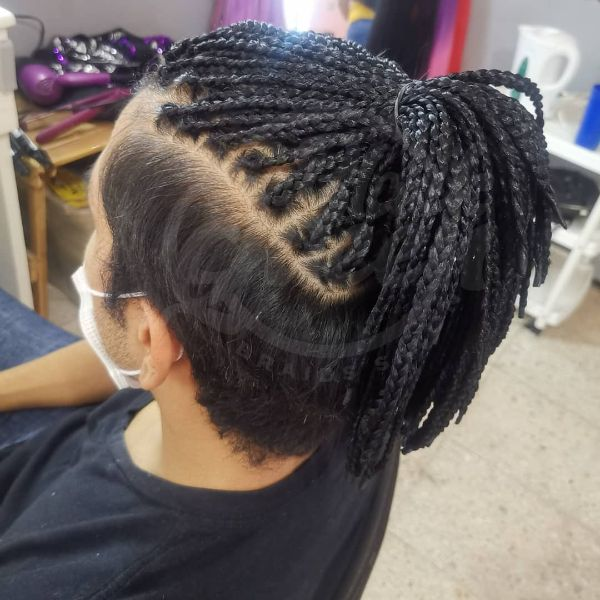 Taper Haircut with Long Dreadlock in High Ponytail
