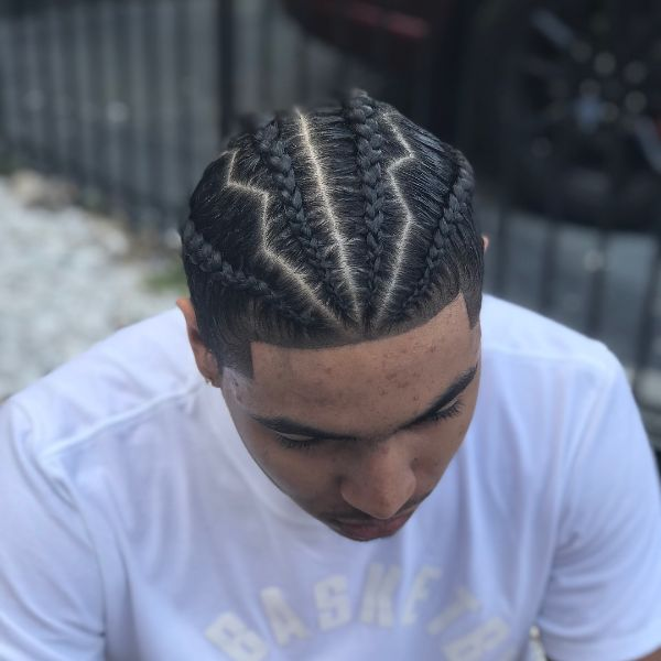 Temple Fade Haircut with Thunder-Shaped Cornrows