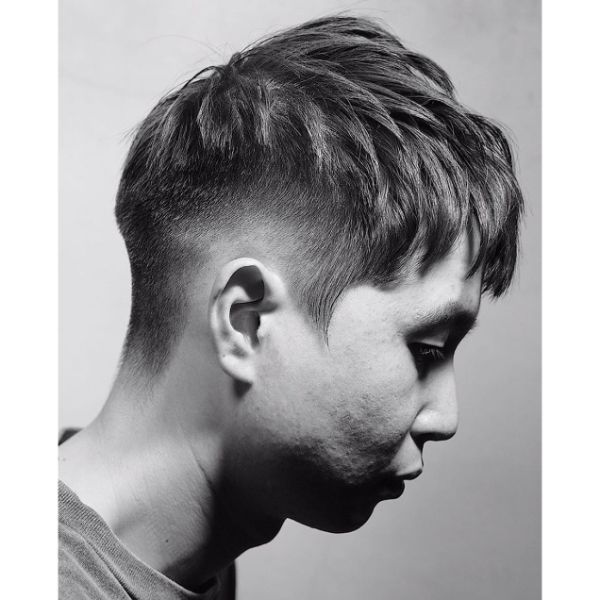 Temple Fade with Layered Chunky Top Haircut