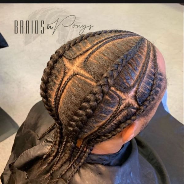 Thin and Thick Cornrows with Small Sections