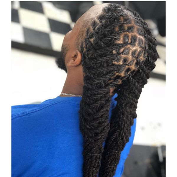 Twisted Thick Pigtails with Multi Braids