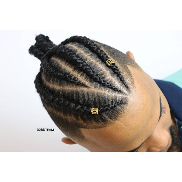 Uneven Cornrows with Taper Fade Haircut