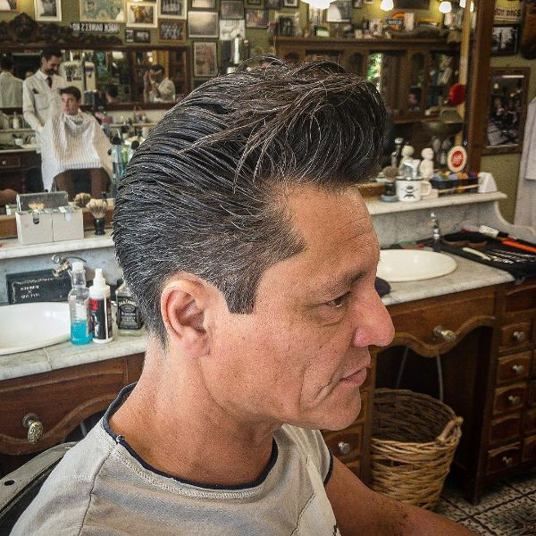 White-grey Messy Pompadour Hairstyle for Older Men