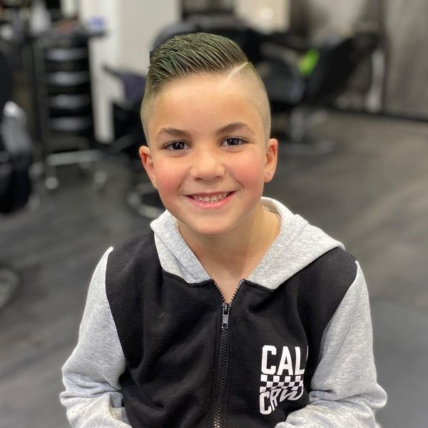 Zero Fade Boys Haircut with Side Slicked Top