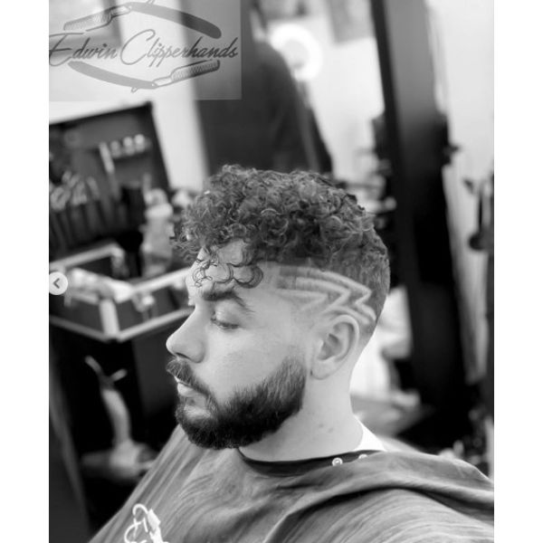 Bald Fade with Curled Top