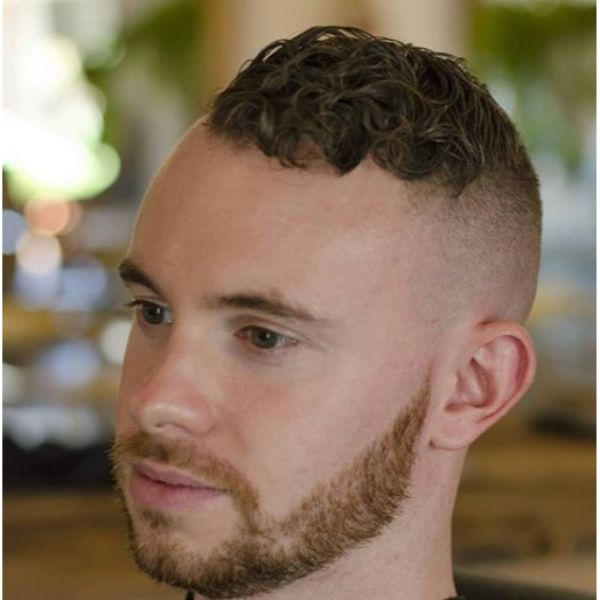 Bald Fade with Curly Top