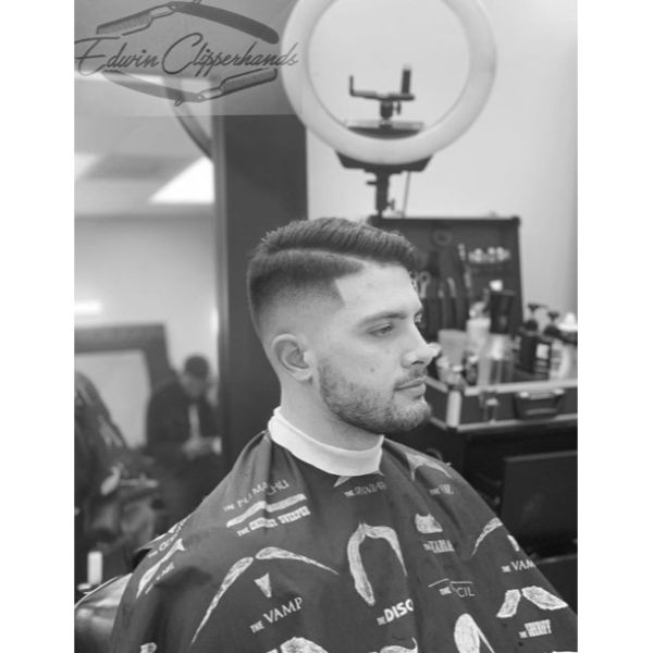 Bald Fade with Shear Top and Hard Part