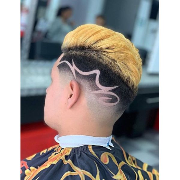 Blonde Mohawk with Razor Design And Short Skin Fade Hairstyles