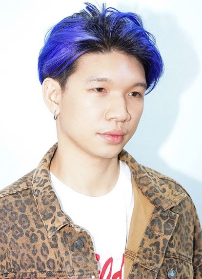 Blue Colored Long Top Cropped Cut Hairstyles for Asian Men