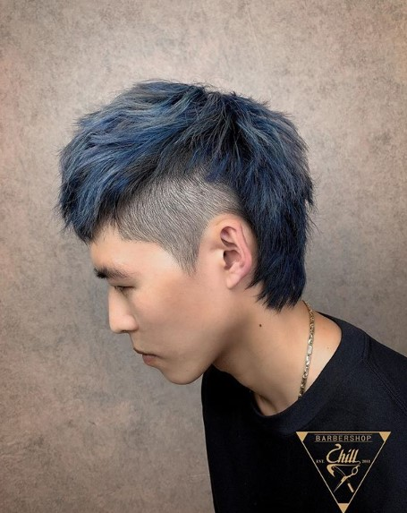 Blue Colored Mullet Hairstyles for Asian Men