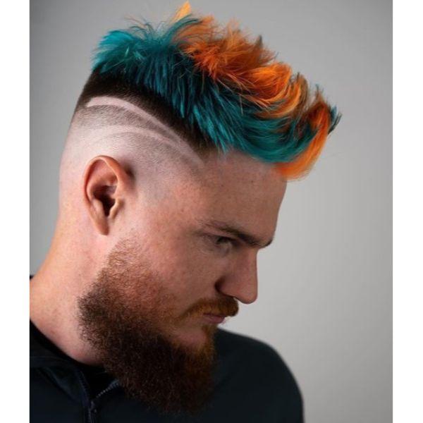 Blue Orange Faux Mohawk with Double Razor Edge