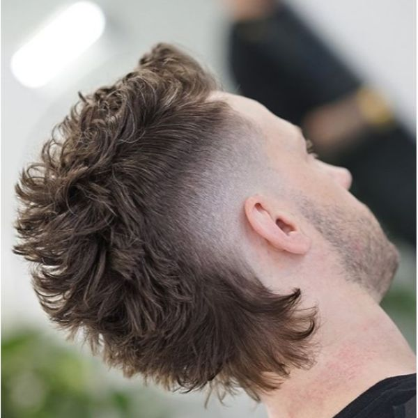 Burst Fade Curly Mullet Short Sides Long Top Hairstyles