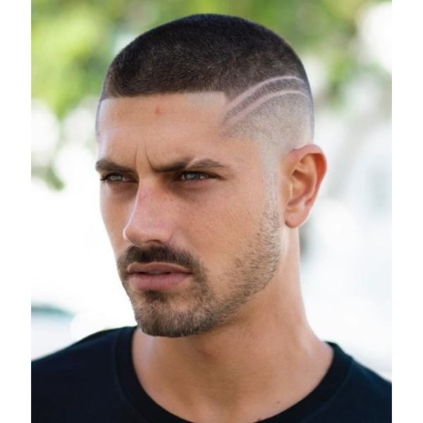 Buzz Cut with Double Side Lines