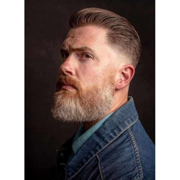 Cinnamon Brown Classic Slicked-back Taper Cut with Trimmed Beard