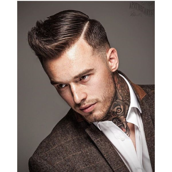 Classic Pompadour Short Haircut with Swept Back Bangs Hairstyle