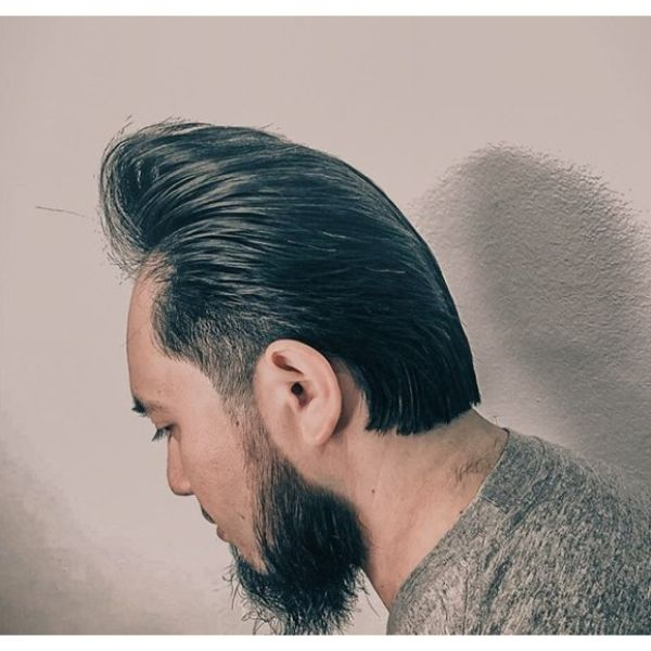 Classic Slicked Back Pompadour Hairstyles for Asian Men