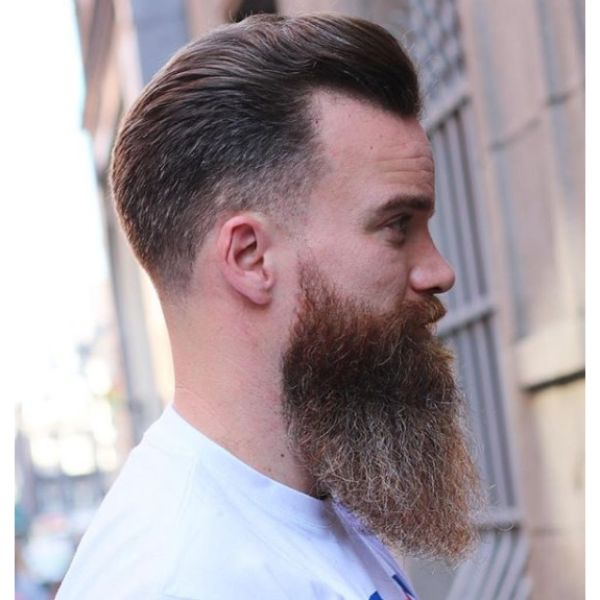 Classic Taper Fade Haircut with Hipster Beard