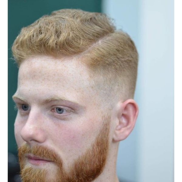 Classic Taper Skin Fade with Side Part and Beard
