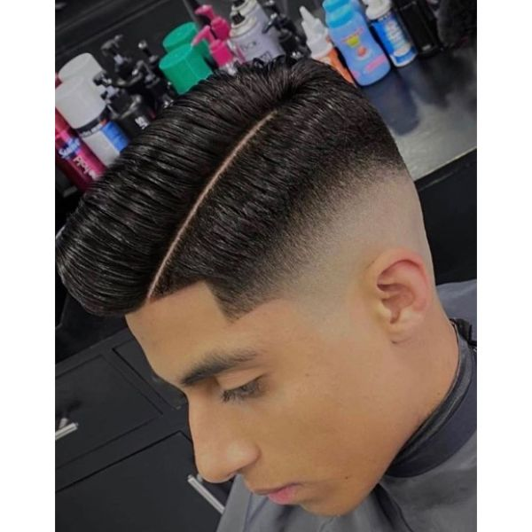 Clean Taper Fade with Hard Part