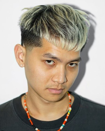Crop Haircut with Blonde Balayage Hairstyles for Asian Men