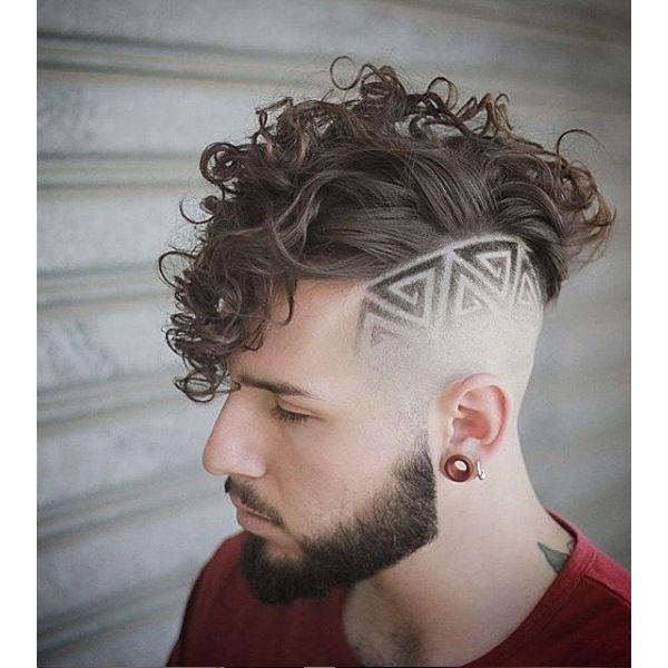 Curly Mohawk With Side Razor Design Short Sides Long Top Hairstyles
