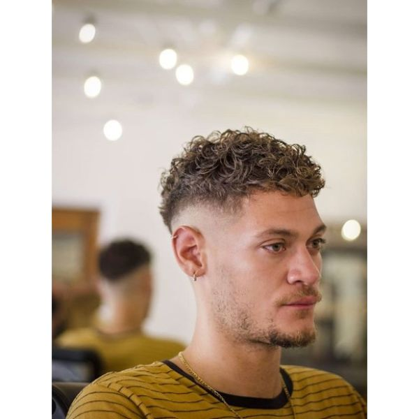 Curly Top for Blonde Fade Cut