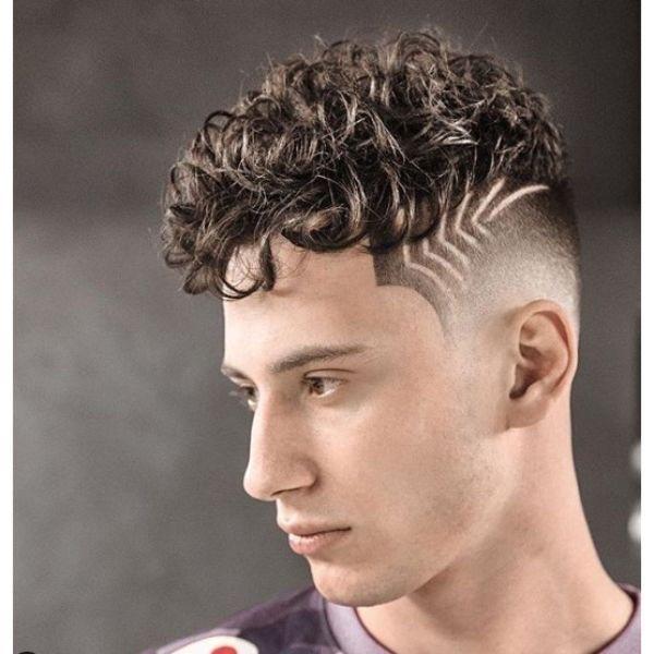 Curly Top with Side Pattern and Sharp Fade
