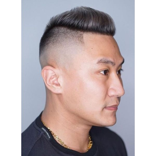 Dark Grey High and Tight Fade with Mohawk