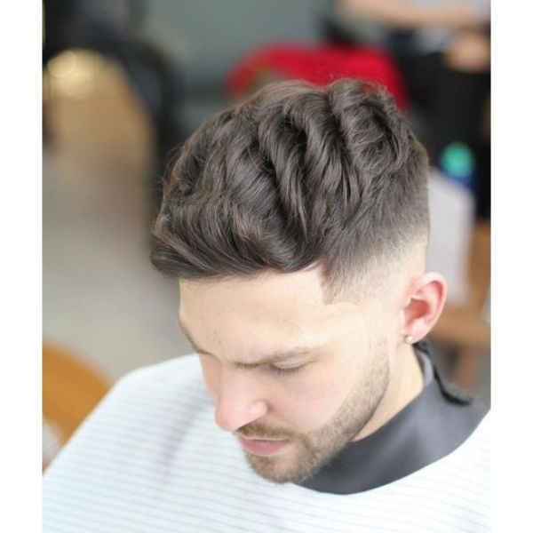 Emphasized Wavy Top for High Fade Hairstyle for Teenage Guys