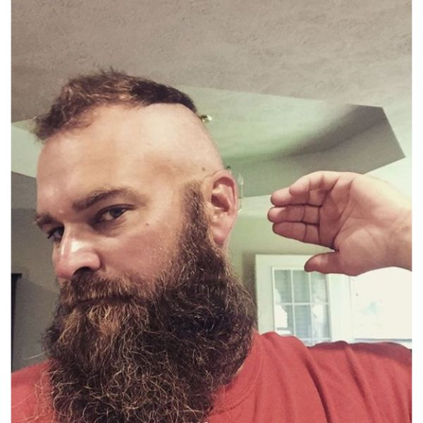 Frohawk with Massive Beard Hairstyle for Balding Men