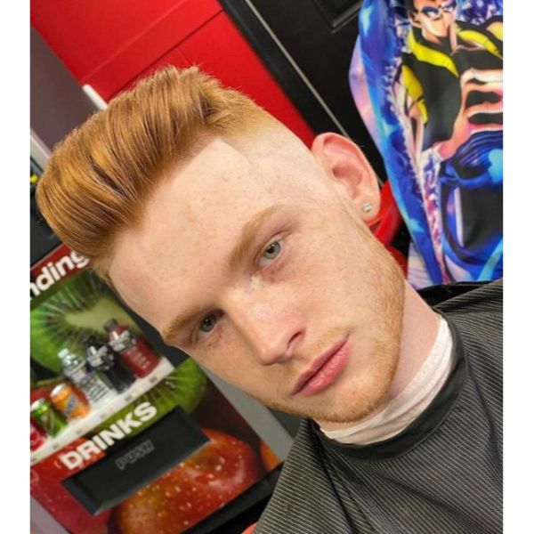 Ginger High Fade with Swept-back Top