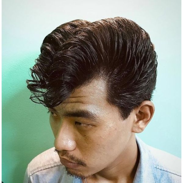 Greasy Elephant's Trunk Jelly Rolls Short Sides Long Top Hairstyles