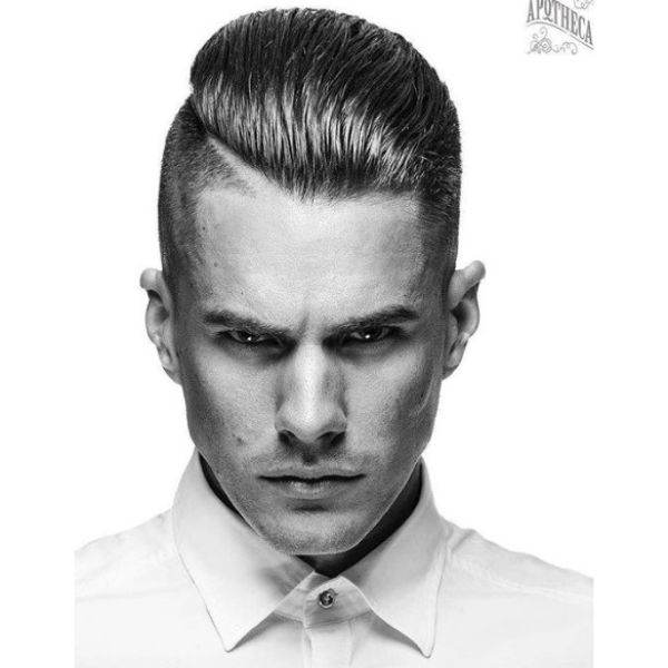 Greasy Slickback with Hard Part Short Side Long Top Hairstyles