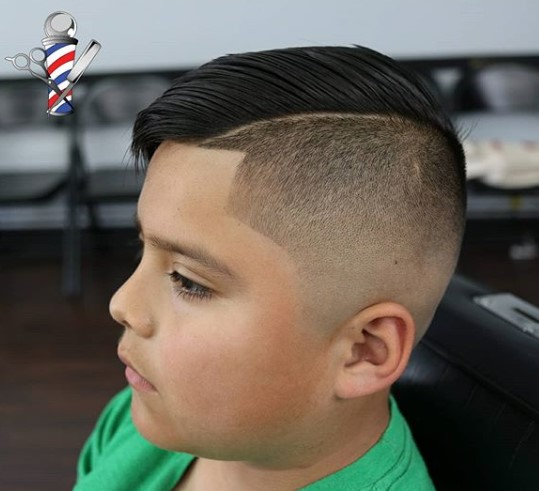 Half Taper Half Fade with Hard Part Hairstyle for Teenage Guys