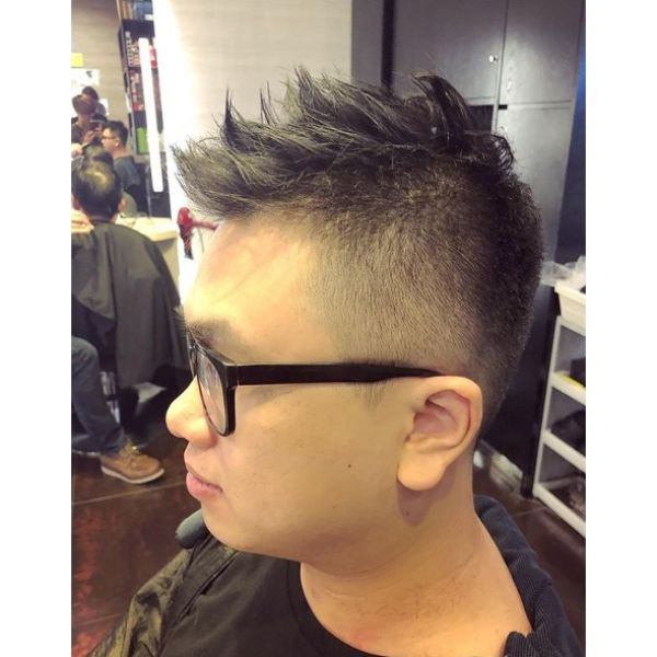 High Fade with Spiky Chop Top