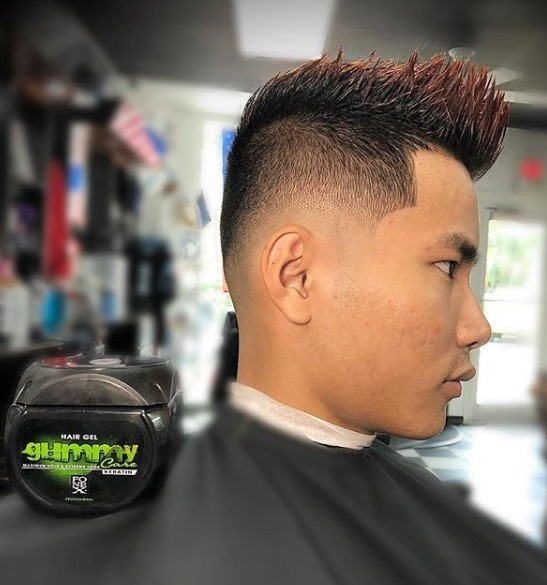 High Fade with Spiky Red Colored Top