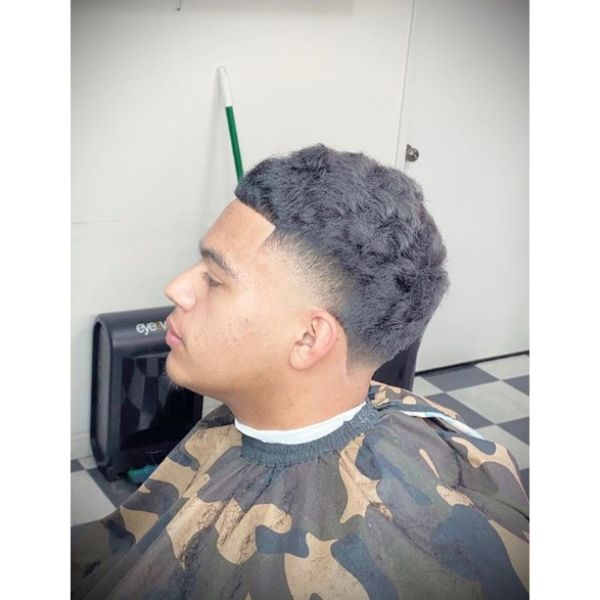 High Taper with Curly Wavy Top