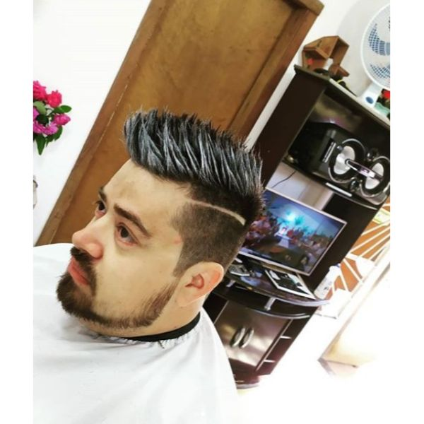 Icy Spiky Taper Fade Haircut with Side Razor Line