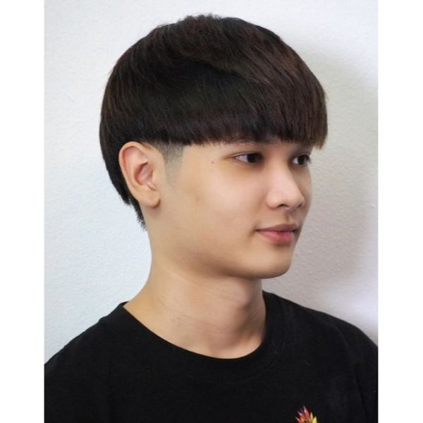 Layered Bowl Cut with Shaved Sideburns