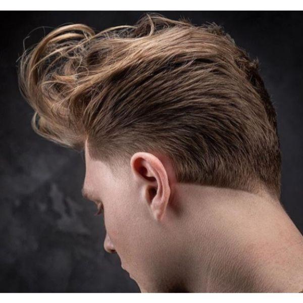 Long Messy D.A. Taper Fade Haircut