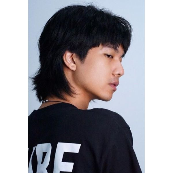 Long Textured Mullet Hairstyles for Asian Men
