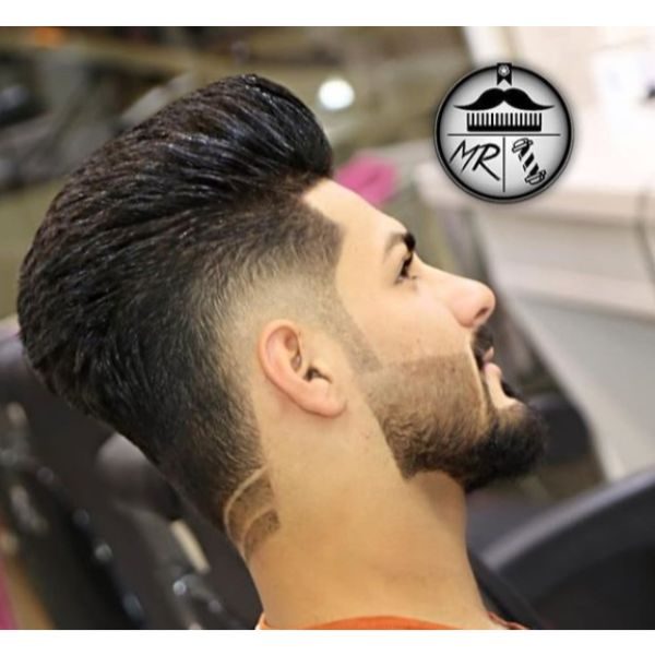 Low Fade with Razor Pattern