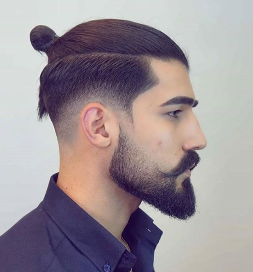 Low Fade with Sleek Top Knot