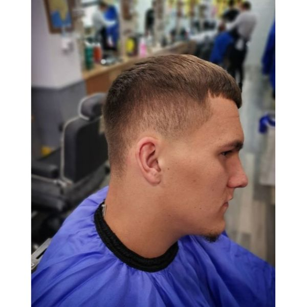 Low Taper Fade with Baby Bangs